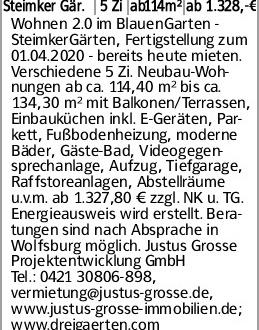 Steimker Gär. 5 Zi ab114m² ab 1.328,-€ Wohnen 2.0 im BlauenGarten - SteimkerGärten,...