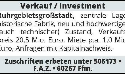 Verkauf/Investmen Ruhrgeb