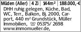 Müden (Aller) 4 Zi 144m² 188.000,-€ DHH ruhig gelegen, Küche, Bad, WC,...