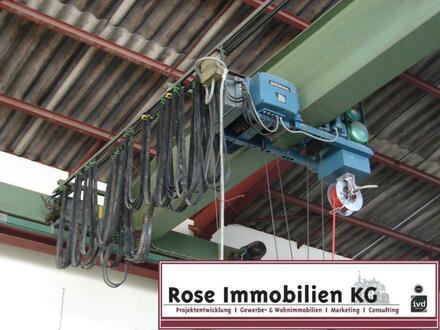 ROSE IMMOBILIEN KG: Kaltlagerhalle mit Brückenkran 3,2t., Werkstatt, Büro!