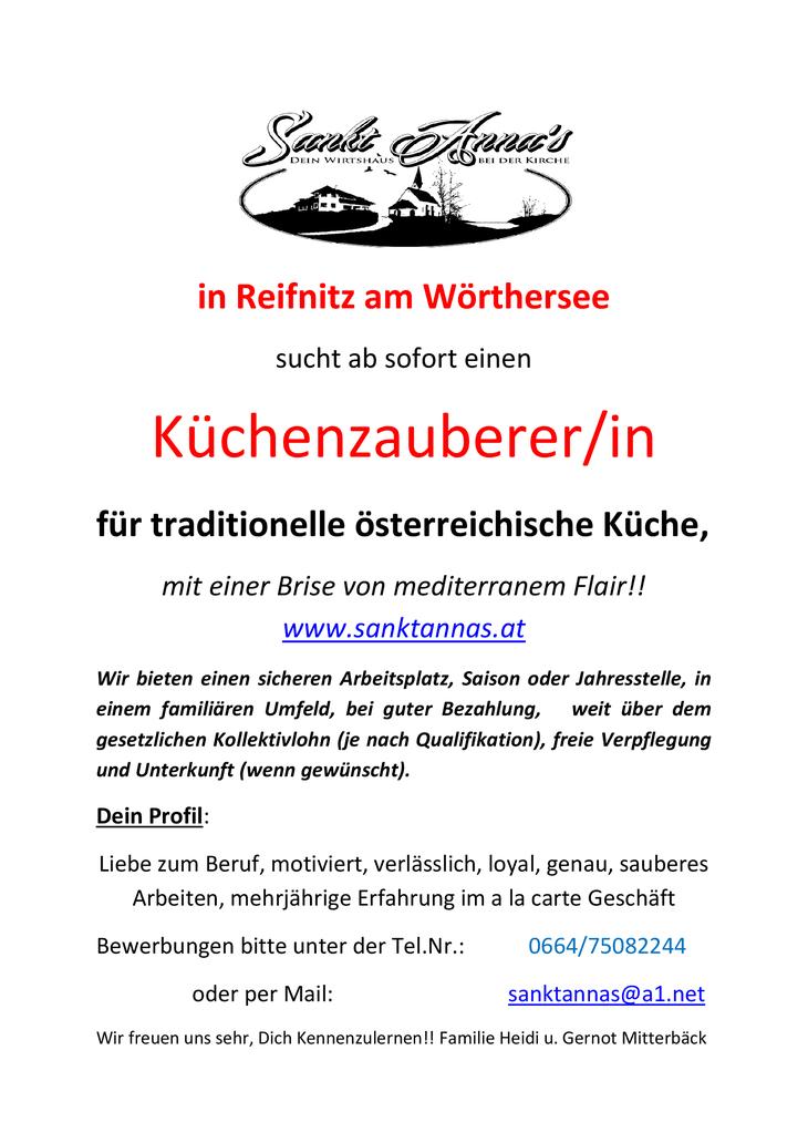 Sankt Anna's in Reifnitz am Wörthersee sucht ab sofort einen Küchenzauberer/in