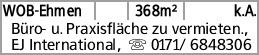 WOB-Ehmen 368m² k.A. Büro- u. Praxisfläche zu vermieten., EJ International,...