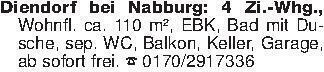 Diendorf bei Nabburg: 4 Zi.-Wh...