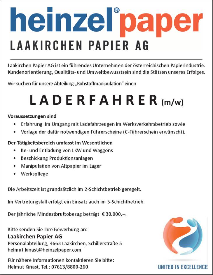heinzel Papier Der Tätigkeitsbereich umfasst im Wesentlichen • Be- und Entladung von LKW und Waggons • Beschickung Produktionsanlagen • Manipulation von Altpapier im Lager • Werkspflege