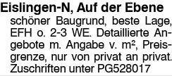 Eislingen-N, Auf der Ebene schöner Baugrund, beste Lage, EFH o. 2-3 WE....