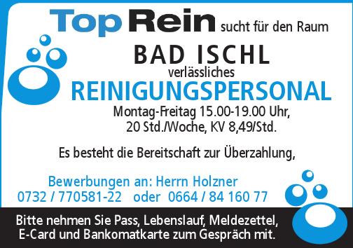 Top Rein sucht für den Raum Bad Ischl verlässliches Reinigungspersonal