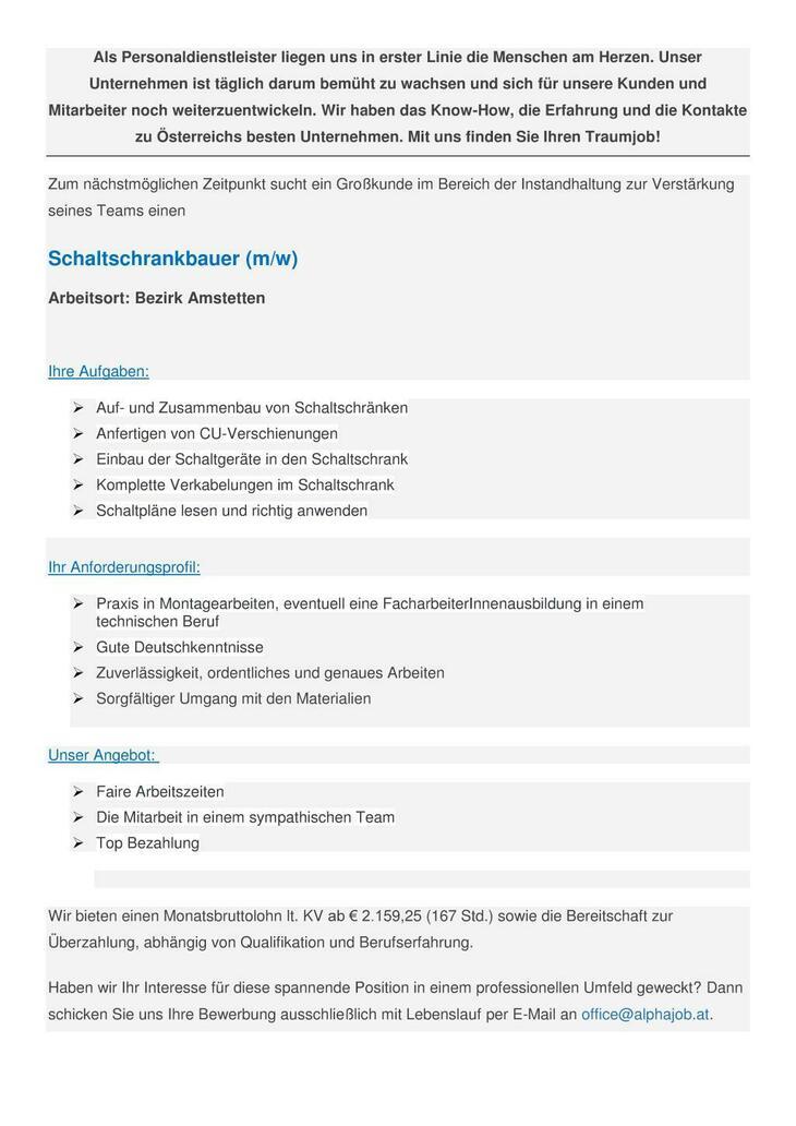 Schaltschrankbauer (m/w) Bezirk Amstetten