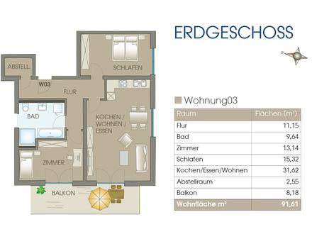 Neubau in Feuchtwangen - 3 Zimmerwohnung hell und freundich