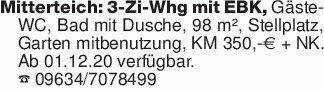Mitterteich: 3-Zi-Whg mit EBK,...