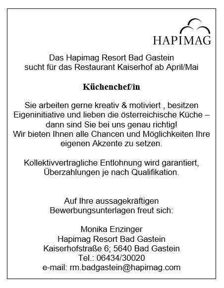 Das Hapimag Resort Bad Gastein  sucht für das Restaurant Kaiserhof ab April/Mai