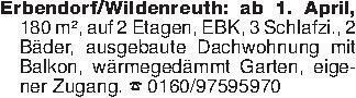 Erbendorf/Wildenreuth: ab 1. A...