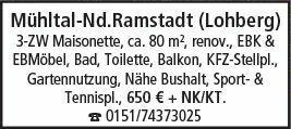 3-Zimmer Mietwohnung in Mühltal NR (64367)
