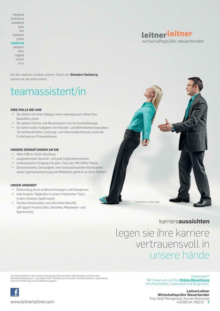 Am Standort Salzburg erweitern wir unser Team um eine Teamassistent/in.