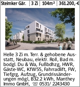 Steimker Gär. 3 Zi 104m² 361.200,-€ Helle 3 Zi m. Terr. & gehobene Ausstatt,...