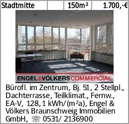 Stadtmitte 150m² 1.700,-€ Bürofl. im Zentrum, Bj. 51, 2 Stellpl., Dachterrasse,...