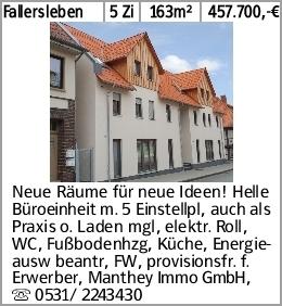 Fallersleben 5 Zi 163m² 457.700,-€ Neue Räume für neue Ideen! Helle Büroeinheit...