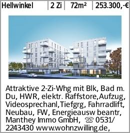 Hellwinkel 2 Zi 72m² 253.300,-€ Attraktive 2-Zi-Whg mit Blk, Bad m. Du,...