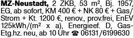 2-Zimmer Mietwohnung in Mainz-Neustadt (55118)