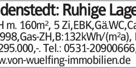 Gadenstedt: Ruhige Lage DHH m. 160m², 5 Zi,EBK,Gä.WC,Carp., Bj.1998,Gas-ZH,B:132kWh/(m²a),...