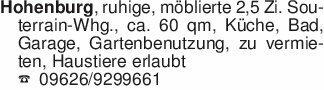 Hohenburg, ruhige, möblierte 2...