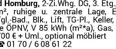 Bad Homburg, 2-Zi.Whg. DG