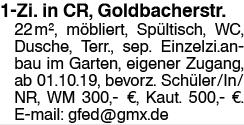 Einz.-Zi. in CR, Goldbacherstr.