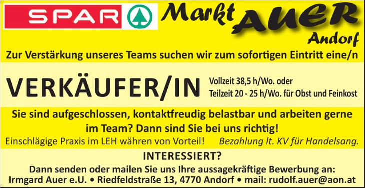 VERKÄUFER/IN Vollzeit 38,5 h/Wo. oder Teilzeit 20 - 25 h/Wo. für Obst und Feinkost