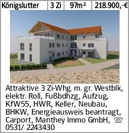 Königslutter 3 Zi 97m² 218.900,-€ Attraktive 3 Zi-Whg. m. gr. Westblk,...