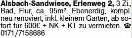 3-Zimmer Mietwohnung in Alsbach-Hähnlein (64665)