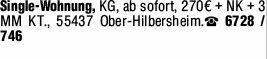 2-Zimmer Mietwohnung in Ober-Hilbersheim (55437)
