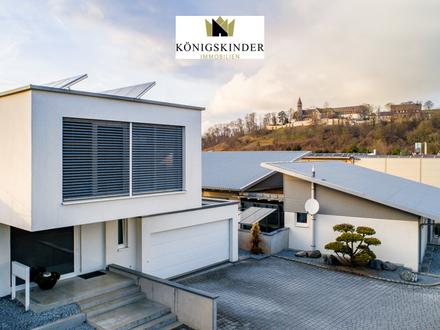 Modernes Wohnhaus im Bauhausstil mit grossem Garten und Schwimmbad