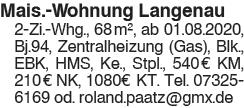2 Zi. Mais. Wohnung in Langenau