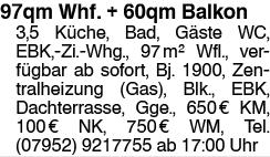 Wohnung 97qm plus 60qm Dachterasse/Balkon