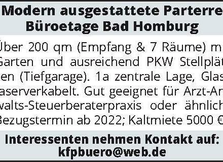 Modern ausgestattete Parterre Büroetage Bad Homburg