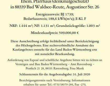 Ehemaliges Pfarrhaus (denkmalgeschützt) in 88339 Bad Waldsee-Reute