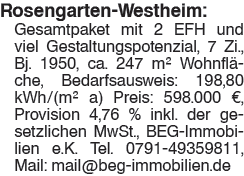 Rosengarten Westheim: Gesamtpaket mit 2 EFH und viel Gestaltungspotenzial