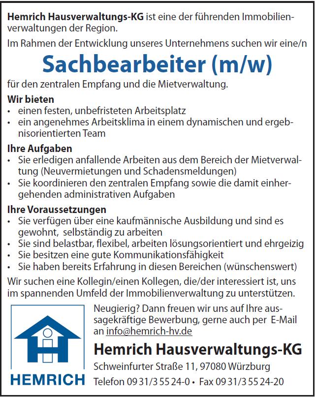 Hemrich Hausverwaltungs-KG ist eine der führenden Immobilienverwaltungen der Region. Im Rahmen der Entwicklung unseres Unternehmens suchen wir eine/n für den zentralen Empfang und die Mietverwaltung.