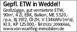 Gepfl. ETW in Weddel!