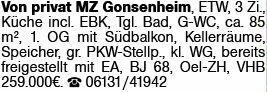 1-Zimmer Eigentumswohnung in Mainz Gonsenheim (55124)