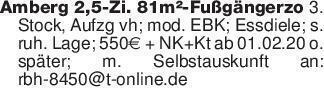 Amberg 2,5-Zi. 81m²-Fußgängerz...