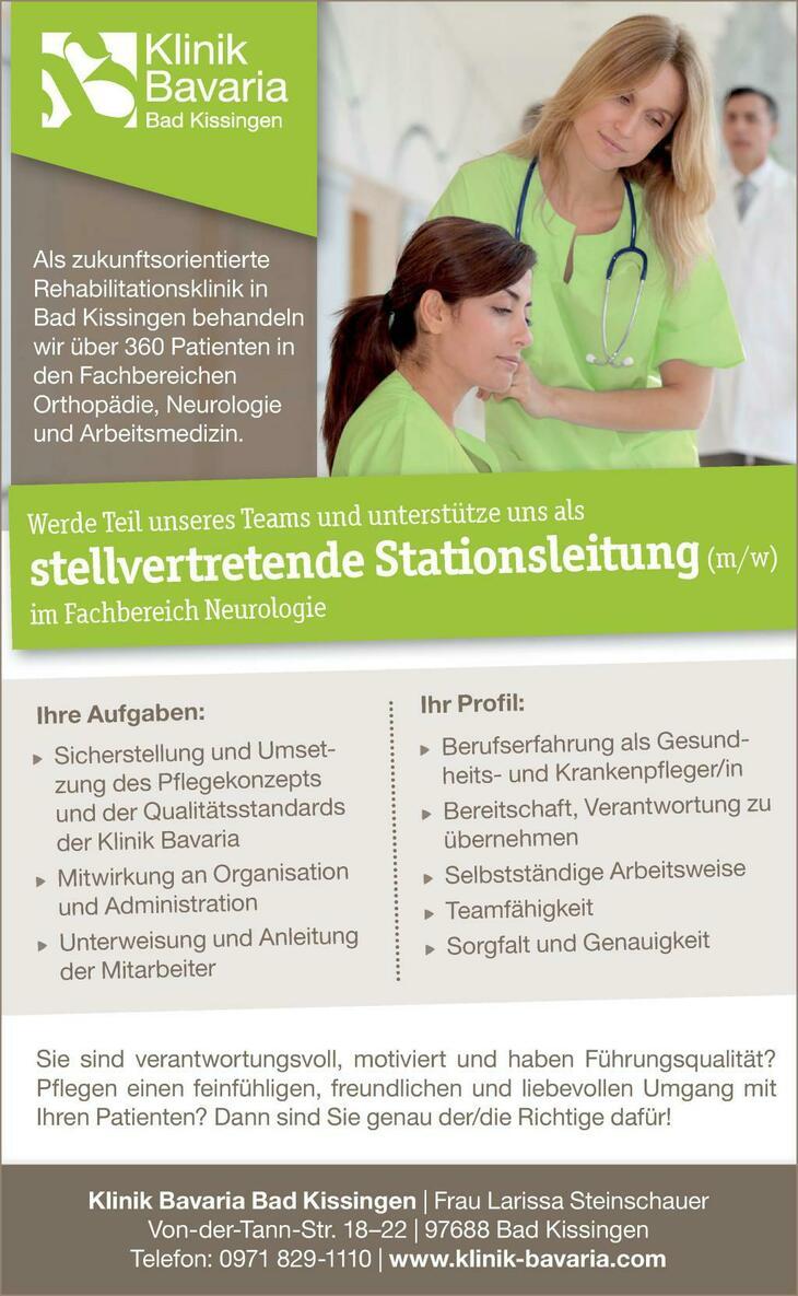 Werde Teil unseres Teams und unterstütze uns als  stellvertrende Stationaleitung (m/w) im Fachbereich Neurologie