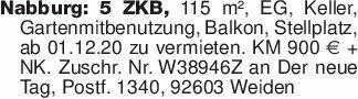 Nabburg: 5 ZKB, 115 m², EG, Ke...
