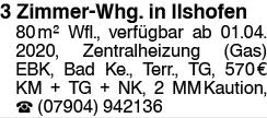 3 Zimmer Wohnung in Ilshofen