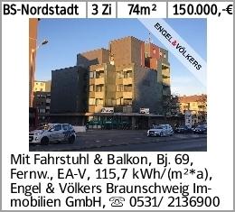 BS-Nordstadt 3 Zi 74m² 150.000,-€ Mit Fahrstuhl & Balkon, Bj. 69, Fernw.,...