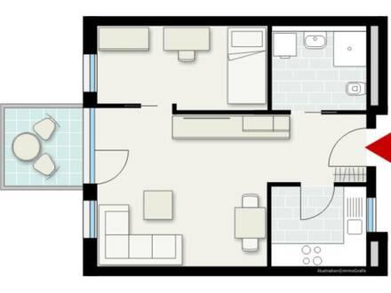 Schöne 1,5 Zimmerwohnung für Senioren (über 60 Jahre)