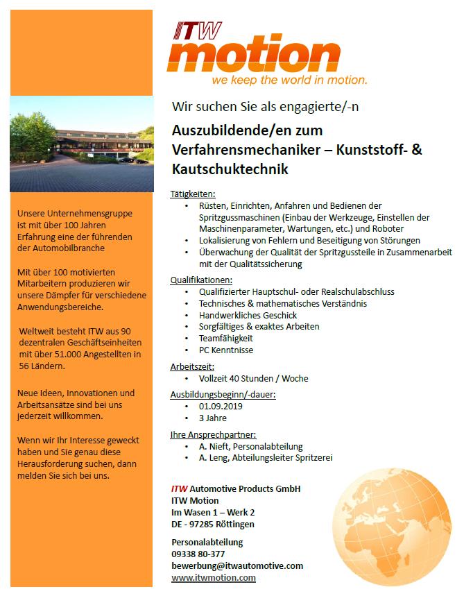 Stellenausschreibung Ausbildung Verfahrensmechaniker m/w/d