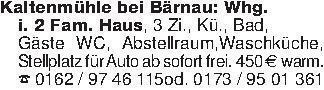 Kaltenmühle bei Bärnau: Whg.i....