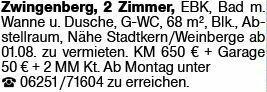 2-Zimmer Mietwohnung in Zwingenberg (64673)