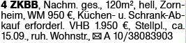 4-Zimmer Mietwohnung in Zornheim (55270)
