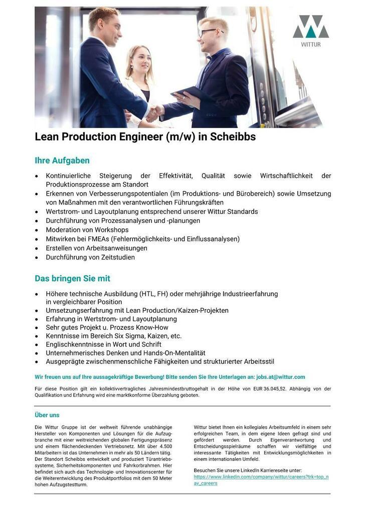 Wir sind der international führende Entwickler und Hersteller von Aufzugskomponenten. Für unseren Standort in Scheibbs suchen wir einen Lean Production Engineer (m/w).